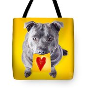 Imploring Staffie With A Sticky Note On His Mouth Tote Bag