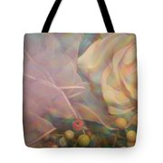 Impressionistic Pink Rose With Ribbon Tote Bag