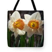 In Conversation - A Couple Of Daffodils Huddled Together Tote Bag
