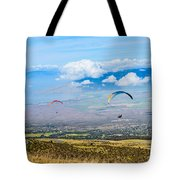 In Flight - Paragliders Taking Off High Over Maui. Tote Bag