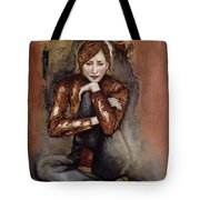 In Her World, 2005 Pen & Ink With Oil On Paper Tote Bag