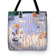 In The Garden Table With Oranges  Tote Bag by Sarah Butterfield