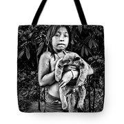 Girl With Oso Dormilon Tote Bag