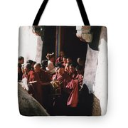 In Tibet Tibetan Monks 5 By Jrr Tote Bag
