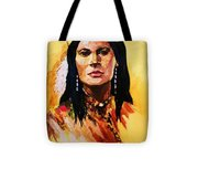 Maiden In White Feather And Beads Tote Bag