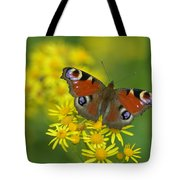 Inachis Io Butterfly On The Yellow Flowers Tote Bag