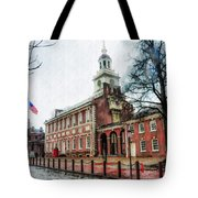 Independence Hall From Chestnut Street Tote Bag