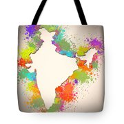 India Watercolor Map Painting Tote Bag