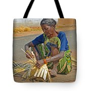 Indian Aged Woman Working Tote Bag