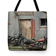 Indian Chout And Chief Bobber At The Old Okains Bay Garage Tote Bag