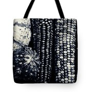 Indian Corn And Squash In Black And White Tote Bag