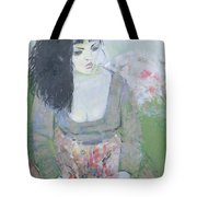 Indian Earring Dark-haired Girl In Green Oil On Canvas Tote Bag