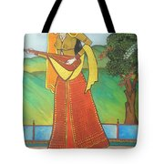 Indian Lady Playing Ancient Musical Instrument Tote Bag