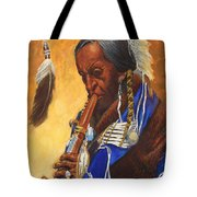 Indian Playing Flute Tote Bag