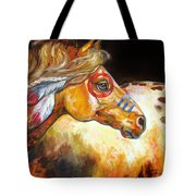 Indian War Horse Golden Sun Tote Bag