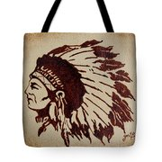 Indian Wise Chief Coffee Painting Tote Bag