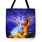 Indian Wolf Spirit Tote Bag
