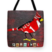 Indiana Cardinal Bird Recycled Vintage License Plate Art Tote Bag