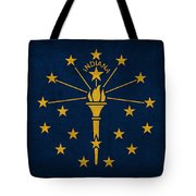 Indiana State Flag Art On Worn Canvas Tote Bag