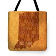 Indiana State Word Art On Canvas Tote Bag by Design Turnpike