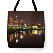 Indianapolis Skyline At Night Indy Downtown Color Panorama Tote Bag