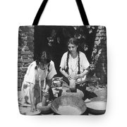 Indians Using Mortar And Pestle Tote Bag