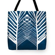 Indigo And White Leaves- Abstract Art Tote Bag by Linda Woods