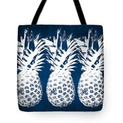 Indigo And White Pineapples Tote Bag by Linda Woods