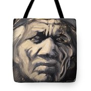 Indio Indian Black And White Oil Painting Tote Bag