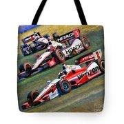 Indy Car's Penske Team Juan Montoya Helio Castroneves Will Power   Tote Bag