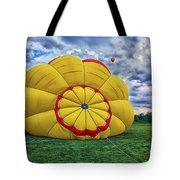 Inflating The Hot Air Balloon Tote Bag