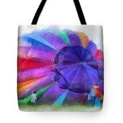 Inflating The Rainbow Hot Air Balloon Photo Art Tote Bag