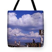Information Board Of A Pier, Rod Tote Bag
