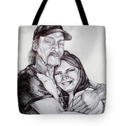 Ink Portrait Of My Father And I Tote Bag