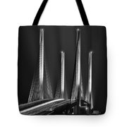 Inlet Bridge Light Trails In Black And White Tote Bag