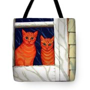Orange Cats Looking Out Window Tote Bag