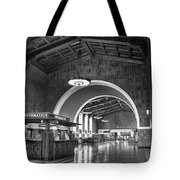 Inside Los Angeles Union Station In Black And White Tote Bag