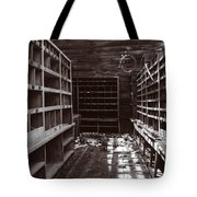 Inside Storage Building Sepia 1 Tote Bag by Roger Snyder