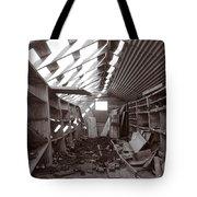 Inside Storage Building Sepia 2 Tote Bag by Roger Snyder