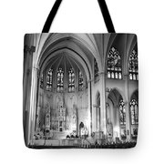 Inside The Cathedral Basilica Of The Immaculate Conception 1 Bw Tote Bag