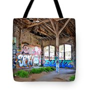 Inside The Old Train Roundhouse At Bayshore Near San Francisco And The Cow Palace II Tote Bag