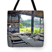 Inside The Old Train Roundhouse At Bayshore Near San Francisco And The Cow Palace Iv Tote Bag