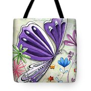 Inspirational Butterfly Flower Art Inspiring Quote Design By Megan Duncanson Tote Bag