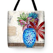 Inspirational Floral Dragonfly Painting Flower Vase With Quote By Megan Duncanson Tote Bag