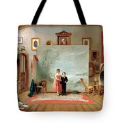 Interior With Portraits Tote Bag