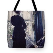 Interior Woman At The Window Tote Bag by Gustave Caillebotte