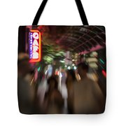 International Cafe Neon Sign And Street Scene At Night Santa Monica Ca Landscape Tote Bag
