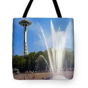 International Fountain And Space Needle Tote Bag