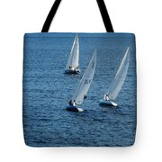 Into The Wind - Crisp White Sails On Blue Tote Bag