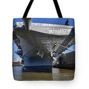 Intrepid At City Harbor Tote Bag